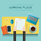 Two illustrations of table with day plan blank and different objects Royalty Free Stock Image