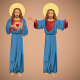 Two image jesus christ sacred heart Royalty Free Stock Images