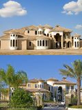 Two images of Construction. And completion of a large mansion Royalty Free Stock Images