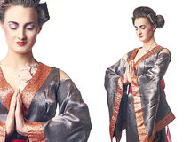 Two images of Geisha style woman with hands together Royalty Free Stock Image