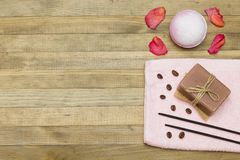 Two incense sticks and pink bath bomb with soap Royalty Free Stock Images