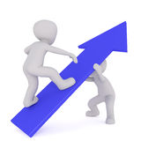 Two incognito cartoon men with blue arrow. Faceless cartoon character climbing up big arrow while another is supporting it from beneath, 3D render on white Stock Image