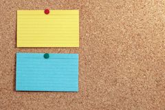 Two Index Cards on Cork Board royalty free stock image