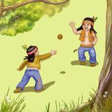 Two indian boys. And a ball royalty free illustration