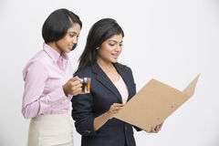 Two Indian Businesswomen Having Informal Meeting. On white background Stock Images