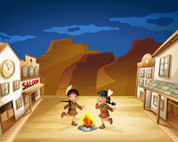 Two Indian girls dancing around the fire. Illustration of the two Indian girls dancing around the fire stock illustration