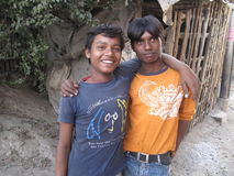 Two Indian teen boys posing to the camera in Kolkata. India, January 26, 2009 Royalty Free Stock Images
