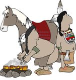 Two Indians and a horse. This illustration depicts 2 native American Indians and a horse Stock Photography