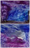 Two indigo encaustic. Abstract background with hot wax encaustic effect Stock Photos