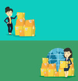 Two industrial banners with space for text. Vector flat design. Horizontal layout. Asian business woman checking boxes in warehouse. Young business woman royalty free illustration