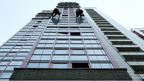 Two industrial climbers are washing, cleaning facade of a modern office building stock images