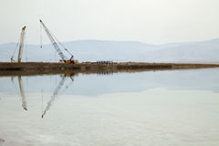 Heavy Machinery at the Dead Sea Stock Photo