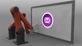 Two industrial robot arms scrolling screen and pushing send mail buttons. Spam or newsletter concept. Seamless loop, 4K. Footage, ProRes stock video footage