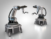 Two industrial robots. 3D rendering: Industrial robots are operating Royalty Free Stock Image