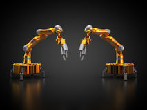 Two industrial robots. 3D rendering: Industrial robots are operating Stock Photo