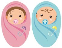 Two infants boy and girl Royalty Free Stock Images