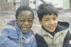 Two inner city boys in South Bronx, NY Royalty Free Stock Image
