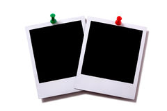 Two polaroid frame photo prints pushpin isolated white background Stock Image
