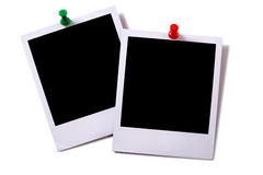 Polaroid frame photo prints pushpin isolated white background Royalty Free Stock Photos