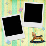 Two Instant photo frame in chid background Royalty Free Stock Photos