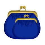Two insulated blue purses. the icon with the purse. Wallet, pouch Royalty Free Stock Image