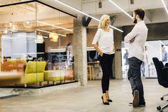 Two intelligent coworkers talking. In a modern office Royalty Free Stock Images