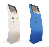 Two interactive kiosk blue and white colors. 3d. Two interactive kiosk blue and white colors on a white background. 3d illustration Royalty Free Stock Photos