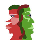 Two interdependences face profiles royalty free stock photography