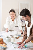 Two interior designer working at office Stock Photos