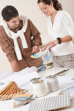 Two interior designer working at office royalty free stock photo