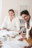 Two interior designer working at office Stock Images