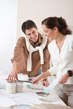 Two interior designer working at office Royalty Free Stock Photos