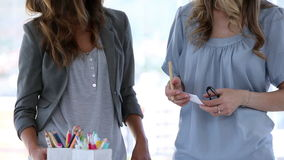 Two interior designers in creative office stock video