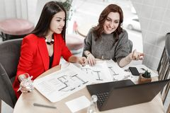The two interior designers are working at the new interior design project in the office royalty free stock photo
