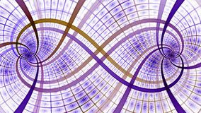Two interlocking spirals creating an infinity symbol with decorative tiles, all in pastel purple and yellow Stock Images