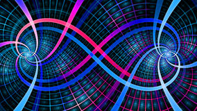 Two interlocking spirals creating an infinity symbol with decorative tiles, all in vivid shining blue and pink Royalty Free Stock Photos
