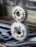 Two interlocking toothed gears Royalty Free Stock Photo