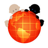 Two internationality babies Stock Photos