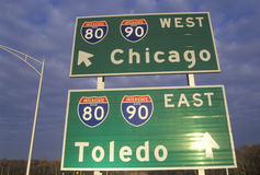 Two interstate signs for Chicago and Toledo Stock Photo