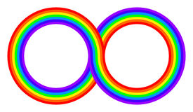 Two intertwined rainbow colored circles Stock Photography