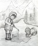Two Inuit Children Fishing on Ice Royalty Free Stock Photos