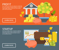 Two Investment Banner Set. Two horizontal investment banner set with buttons and descriptions of profit and startup vector illustration Stock Images