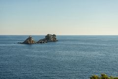 Two islands in Adriatic sea near Petrovac. Katic and Sveta Nedelja islands in Montenegro. royalty free stock photography