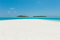 Two islands in the ocean, beach with white sand and blue water. Two islands in the ocean, beach with white sand, Maldives Royalty Free Stock Image