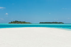 Two islands in the ocean, beach with white sand Stock Image