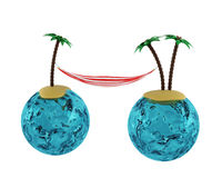 Two islands with palms and hammock. 3d render Stock Images