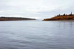 Two islands on the river Lena. Two islands on the Lena River in autumn stock images