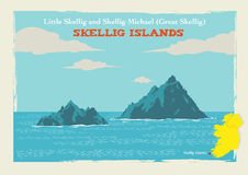 Two Islands Skellig Michael or Great Skellig and Little Skellig in Country Kerry, Ireland. Flat artwork illustration of the two Skellig Islands which is located Royalty Free Stock Photos