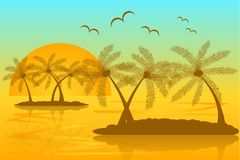 Tropical Islands Silhouette with a Sunset and Flying Birds stock illustration