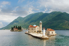 Two islets off the coast of Perast in Bay of Kotor, Montenegro royalty free stock photo